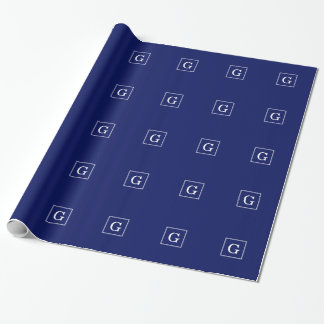 Navy Blue White Framed Initial Monogram Wrapping Paper