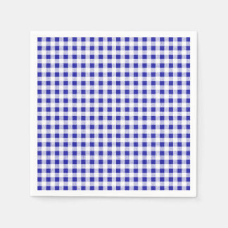 Navy Blue White Gingham Pattern Disposable Napkins