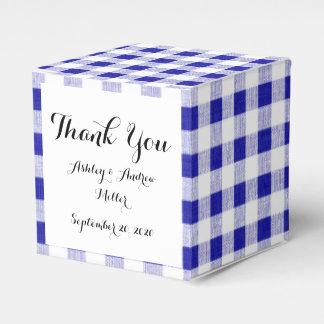Navy Blue White Gingham Pattern Favor Box
