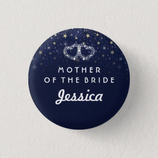 Navy Blue White Gold Stars HEARTS Mother of Bride 1 Inch Round Button