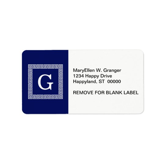 Navy Blue White Greek Key #1 Framed Monogram Label