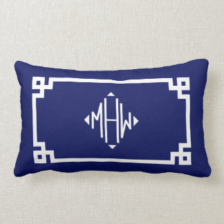 Navy Blue White Greek Key #2 Diamond Monogram Lumbar Pillow