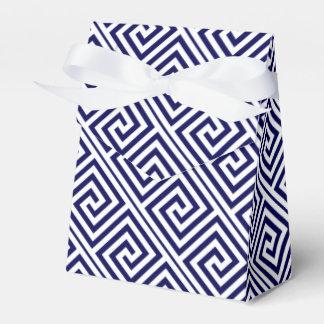 Navy blue, white Greek Key pattern wedding Favor Box