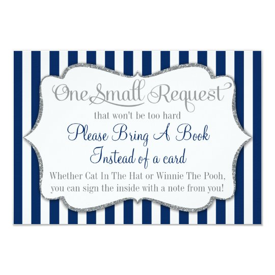 Navy Blue White Grey Baby Shower Bring A Book Card