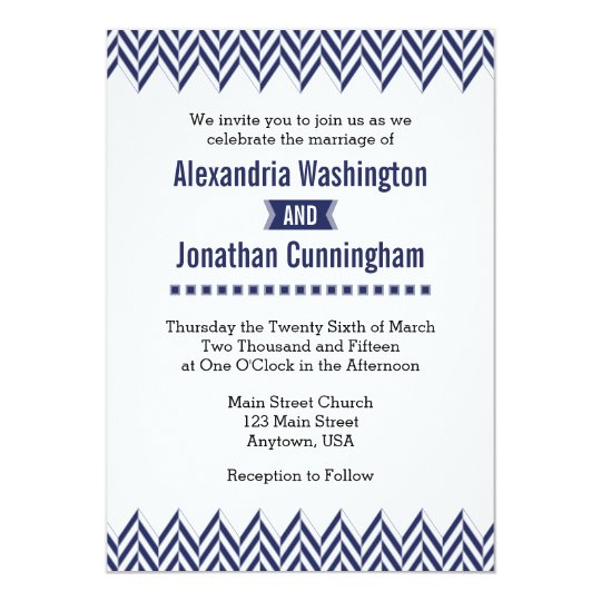 Navy Blue White Herringbone Wedding Invitation