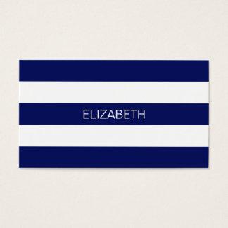 Navy Blue White Horiz Preppy Stripe #3 Monogram Business Card