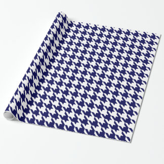 Navy Blue White Huge Houndstooth Wrapping Paper