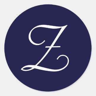 "Navy Blue & White Monogram Initial Seals ""Z"""
