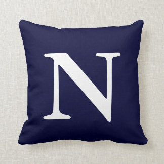 Navy Blue White Monogrammed N Throw Pillow