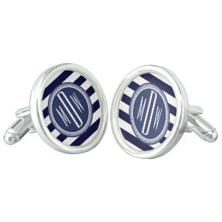 Navy Blue White Monogrammed Stripe Personalized Cuff Links