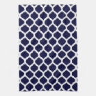 Navy Blue & White Moroccan Kitchen Towel