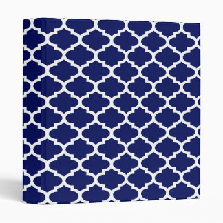 Navy Blue White Moroccan Quatrefoil Pattern #2 Binders