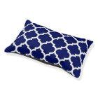 Navy Blue White Moroccan Quatrefoil Pattern #5 Pet Bed