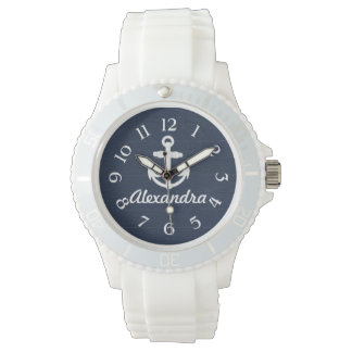 Navy Blue/White Nautical Anchor Personalized Watch