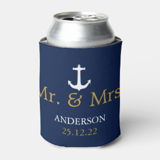 Navy Blue & White Nautical Anchor Wedding Can Cooler
