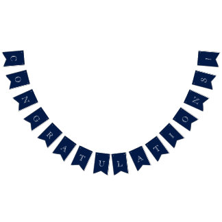 Navy Blue & White Nautical Congratulations Bunting Flags