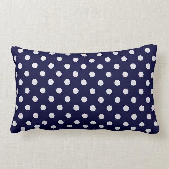Navy Blue White Polka Dot Pattern Lumbar Pillow