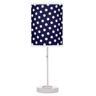 Navy Blue & White Polka Dot Pattern Table Lamp