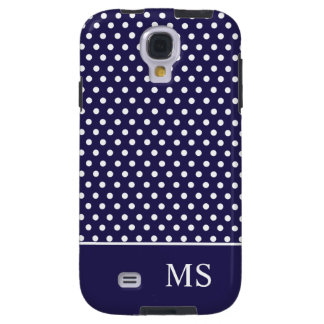 Navy Blue White Polka Dots & Monogram