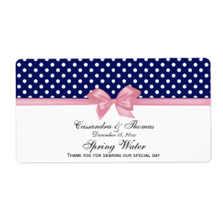 Navy Blue, White Polka Dots Water Label, Pink Bow Shipping Label