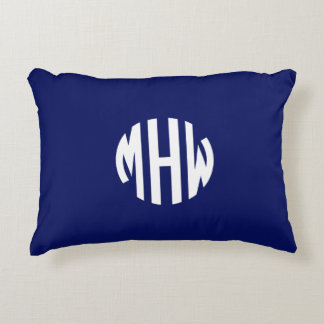 Navy Blue White Preppy Circle Monogram Decorative Pillow