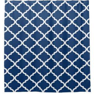 Navy Blue White Quatrefoil Lattice Shower Curtain