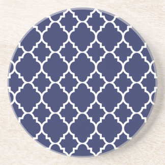 Navy Blue White Quatrefoil Moroccan Pattern Coaster