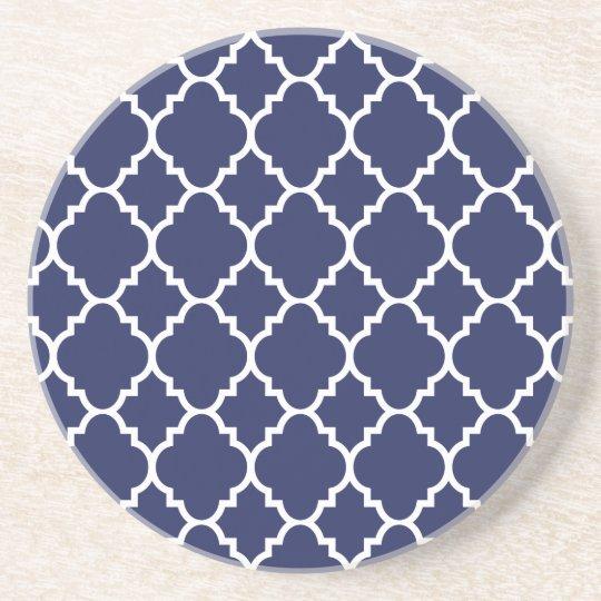 Navy Blue White Quatrefoil Moroccan Pattern Coaster