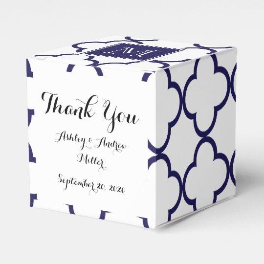 Navy Blue, White Quatrefoil | Your Monogram Wedding Favor Boxes