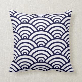 Navy Blue & White Scallop Pattern Throw Pillow