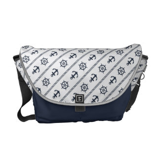 Navy Blue White Ship Wheel Anchor Nautical Commuter Bag