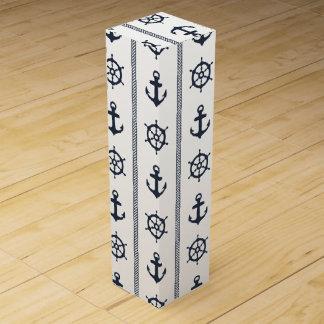 Navy Blue White Ship Wheel Anchor Nautical Design Wine Bottle Boxes