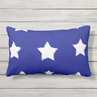 Navy Blue White Star Folk Outdoor Lumbar Pillow