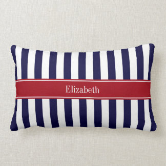 Navy Blue White Stripe Cranberry Name Monogram Lumbar Pillow