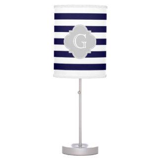 Navy Blue White Stripe Lt Gray Quatrefoil Monogram Desk Lamps