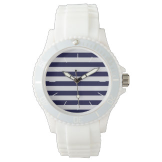 Navy Blue/White Stripe Nautical Watch