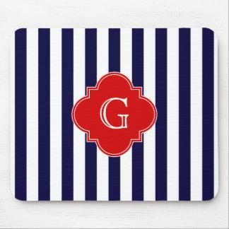 Navy Blue White Stripe Red Quatrefoil Monogram Mouse Pad