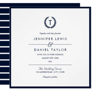Navy Blue & White Stripe Wedding Invitation