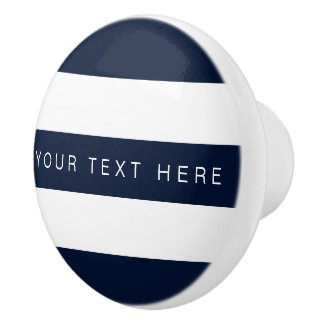 Navy Blue & White Striped Custom Ceramic Knob