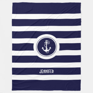 Navy Blue & White Stripes Nautical Anchor Fleece Blanket