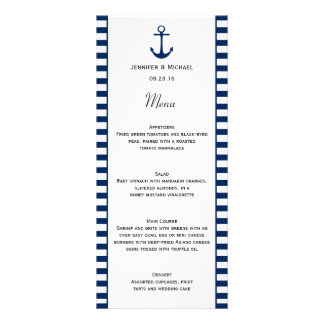 Navy Blue White Stripes Nautical Theme Menu