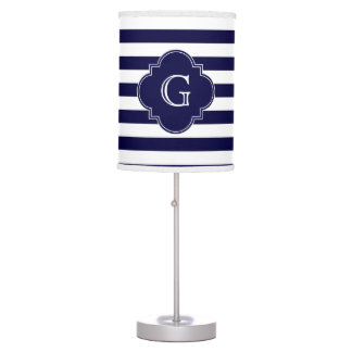 Navy Blue White Stripes, Navy Label Monogram Table Lamp