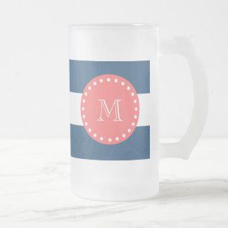Navy Blue White Stripes Pattern, Coral Monogram Coffee Mugs