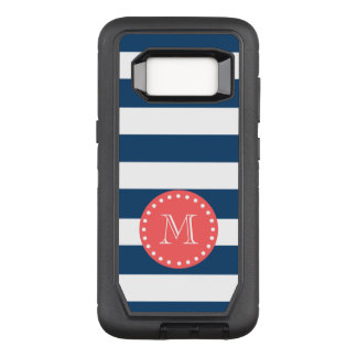 Navy Blue White Stripes Pattern, Coral Monogram OtterBox Defender Samsung Galaxy S8 Case