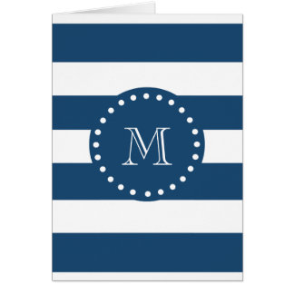Navy Blue White Stripes Pattern, Your Monogram Card