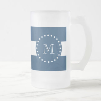 Navy Blue White Stripes Pattern, Your Monogram Frosted Glass Beer Mug
