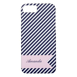 Navy Blue & White Stripes w Monogram iPhone 7 Case