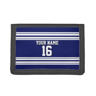 Navy Blue White Team Jersey Custom Number Name Tri-fold Wallet
