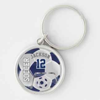 Navy Blue & White Team Soccer Ball Keychain