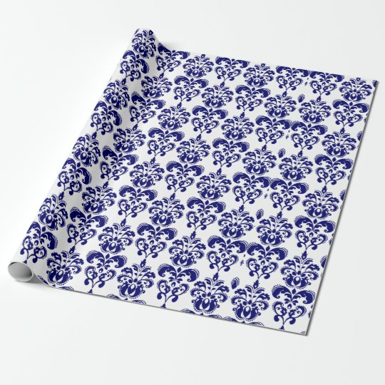 Navy Blue, White Vintage Damask Pattern 2